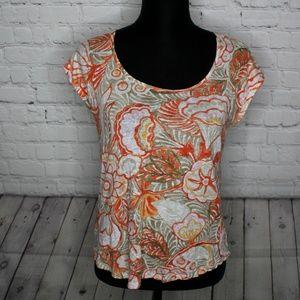 Loft Linen Orange Floral Print Short Sleeve Top M